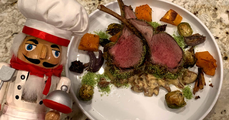 Herb Crusted Rack of Lamb & Chanterelle Cream Sauce
