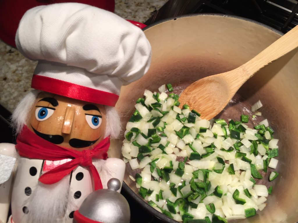 Pepe sautés onions and pablanos