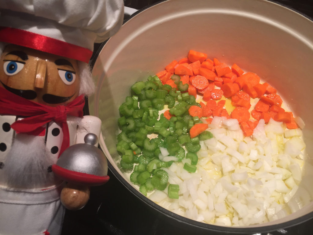 onions, celery and carrots (mirepoix)