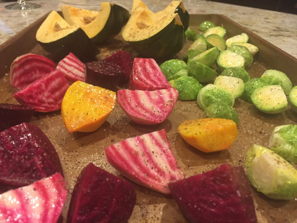 Roasted squash beets brussels sprouts go nice with roast duck