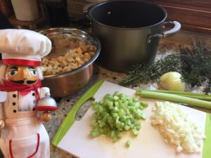 chop onions & celery for stuffing
