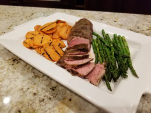 Grilled sweet potatoes, asparagus & pork tenderloin