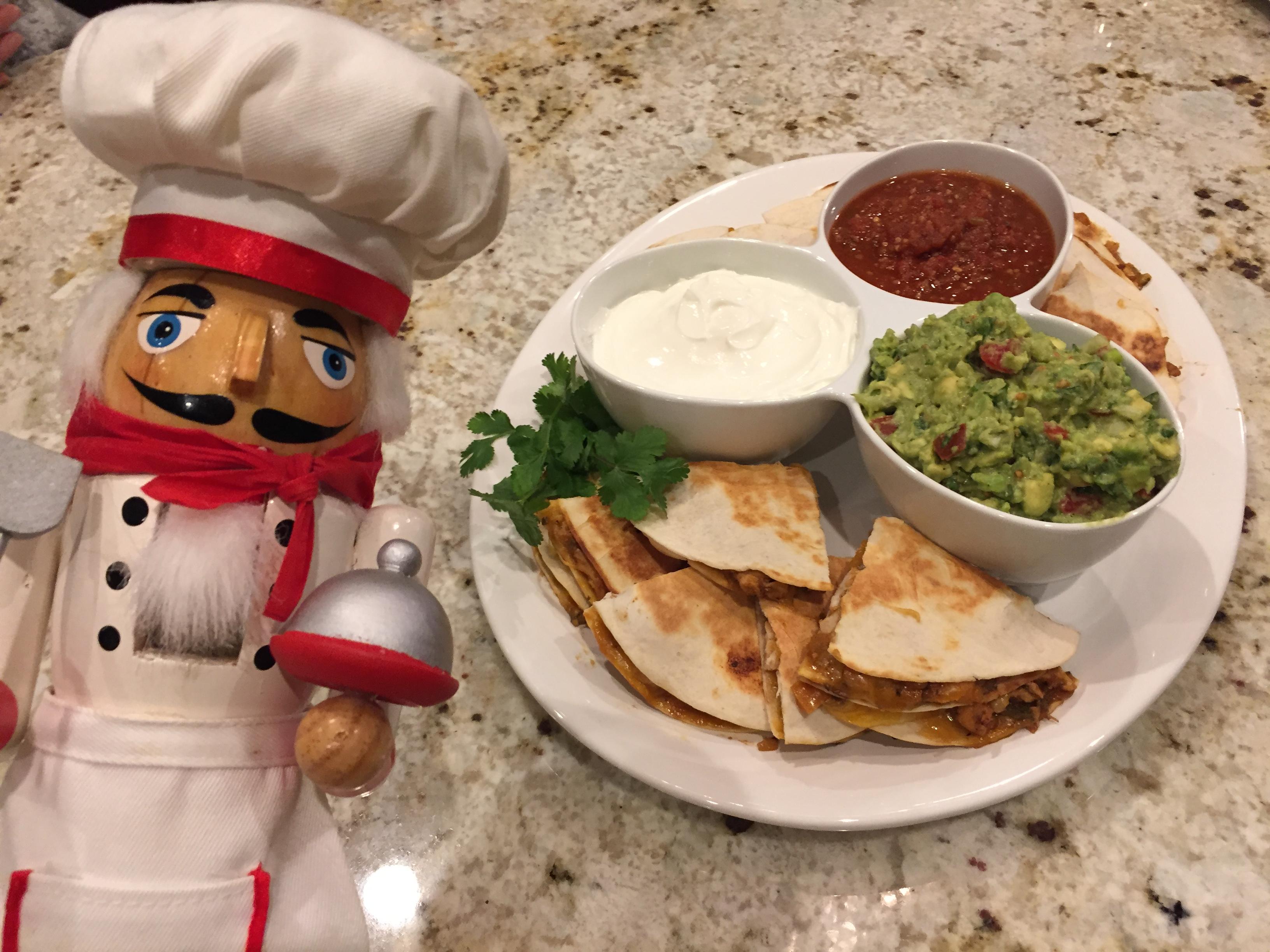 Pepe and Chicken quesadilla platter