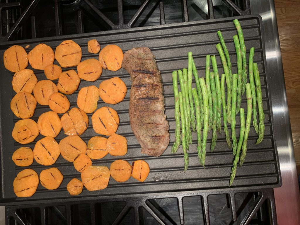 Sweet potatoes & asparagus on indoor grill