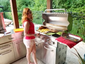 grilling chili lime pork tenderloin with sweet potatoes and asparagus