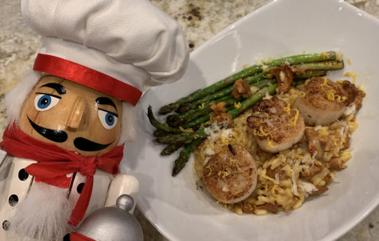 Chanterelle & Saffron Risotto with Seared Scallops