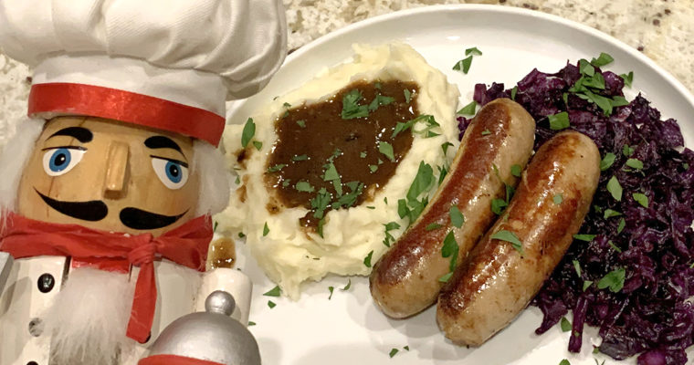 Bangers & Mash with Onion Gravy and Fried Cabbage