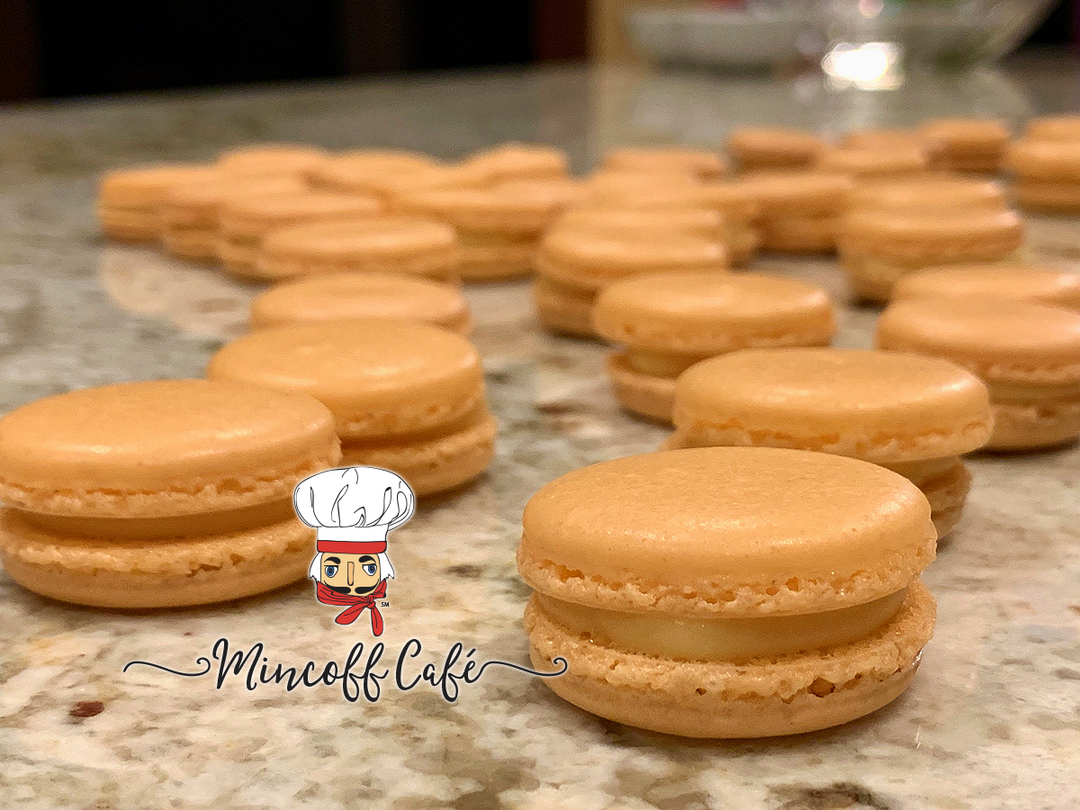 Pale orange pawpaw french macarons