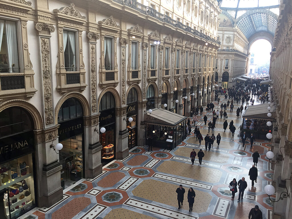Mall housed in a glass-covered 19th-century arcade in Milano, Italy.