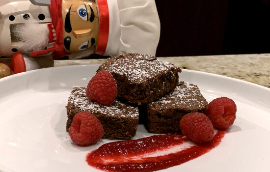 Mexican Fudge Brownies & Raspberry Sauce