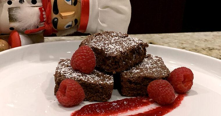 Mexican Fudge Brownies & Raspberry Sauce